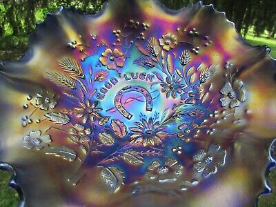Northwood GOOD LUCK ANTIQUE CARNIVAL ART GLASS RUFFLED BOWL~BLUE~BEAUTIFUL COLOR