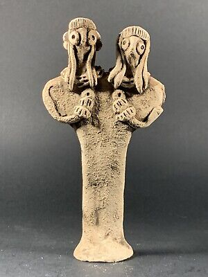 Highly Decorated Ancient Near East Syro-Hittite Terracotta Two-Headed Diety Idol