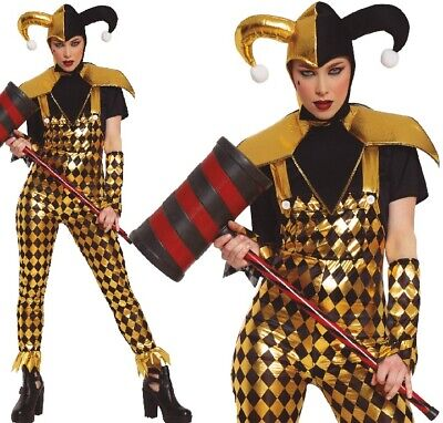 Adulto Donna Harlequin Buffone Del Circo Halloween Costume Outfit UK 6-2