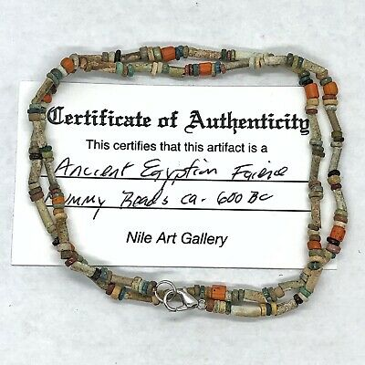 Ancient Egyptian Color Faience Clay Mummy Bead Necklace Artifacts Ca. 600 BC - C