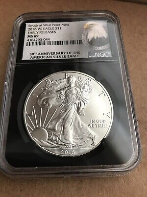 2016 (W) American Silver Eagle NGC MS69 .999 ASE Eagle Black Core Early Releases
