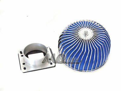 BLUE Filter For 88-97 MX-6 2.0L 2.2L L4 Mass Air Flow Sensor Intake Adapter