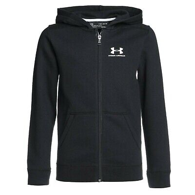 Under Armour Fleece Full Zip Hoodie Kids Black Jumper Age 7-8 Years *Ref94