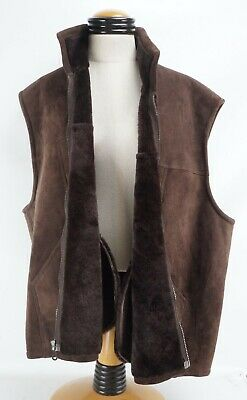 Vtg Mens Orvis Lamb Suede Shearing Lined Vest XXL Brown