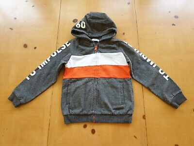 Mayoral Designer Boy's Grey White Orange Hoodie Jacket Size 7 - 8 Years