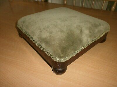 Antique Victorian Square Foot Stool on bun feet, 11ins Square