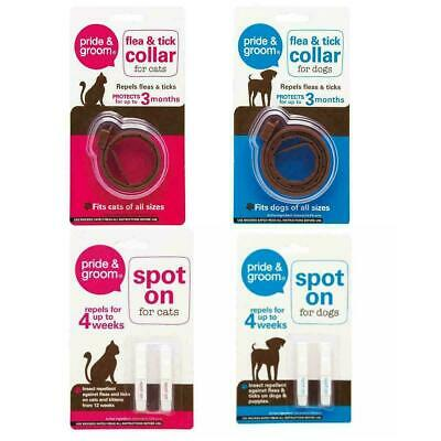 Pride & Groom Flea Tick Spot On Treatment and Collars for Kitten Cat or Dog UK