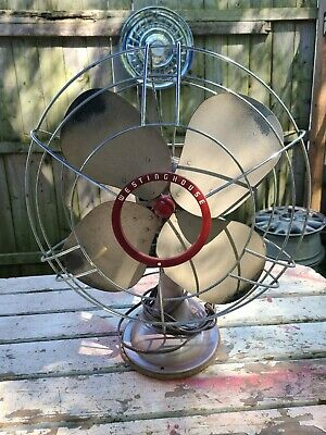 Vintage Westinghouse 4 blade Oscillating Metal Fan model No. 16SD3 WORKING PICS
