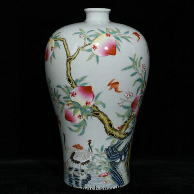 "10.2"" Marked Yongzheng qing Famille rose porcelain FuShou peach bottle vase"