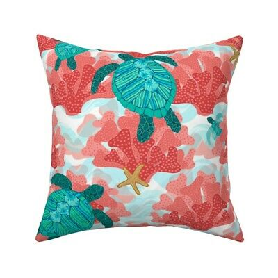 Coral Batik Indian Inspired Throw Pillow Cover w Optional Insert by Roostery