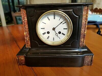 Excellent Small Mid-Victorian French Black Slate & Marble Mantel Clock 4in Dial.