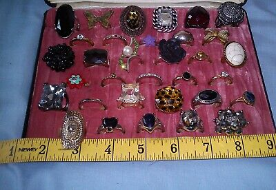 Jewellery Lot Of Old Rings Wearable No Missing Stones