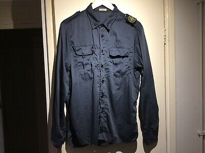 Mens Vintage Stone Island Used Navy Blue Shirt Xl