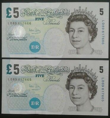 Bank of England _ £5 Five Pound Banknote x 2 consecutives_ Andrew Bailey_ aUNC.