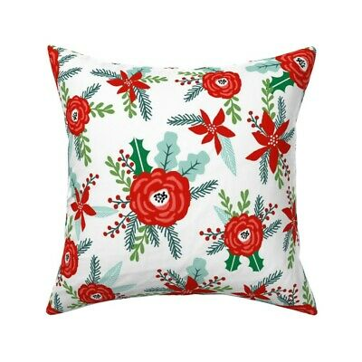 Rainbow Poinsettia Rainbow Throw Pillow Cover w Optional Insert by Roostery
