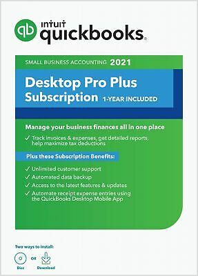QuickBooks Pro PLUS 2021 ( 1 User ) with Unlimited Support and Cloud Backup –...