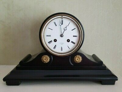 Exceptional Small Henry Marc French Black Slate/Marble Drum Mantel Clock c1880.