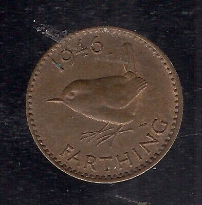 1946 1/4d 1 Farthing COIN GEORGE VI 6th BRITISH £SP Eurasian wren