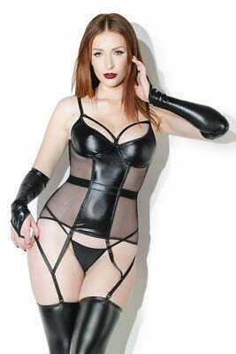 Coquette Wetlook and fishnet underwire bustier