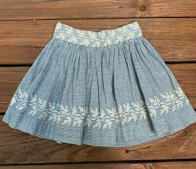 Antique Vintage Hand Embroidered Child Gingham Skirt Old Farmhouse Dress Fabric