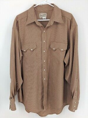 Vtg Rockmount Tru West RRW Mens Pearl Snap Large Shirt Western Long Relaxed Red