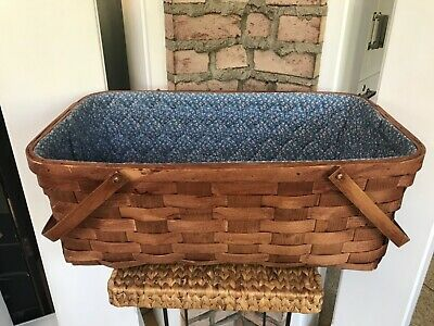 "Moses Basket Hand Woven Reed Wicker Folding Handles Quilted Liner 24"" x 14"" x 9"""