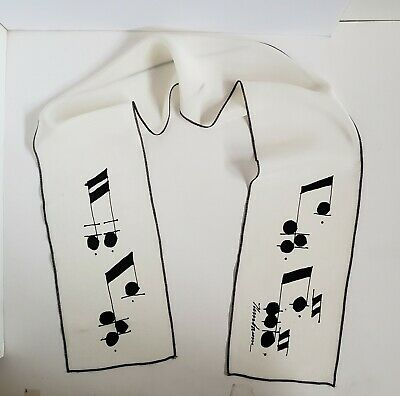 Vintage Silk Scarf with Musical Notes