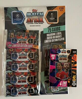 Match Attax Trading Cards Season 2020/2021 75 Card Pack & Mini Tin With 45 Cards
