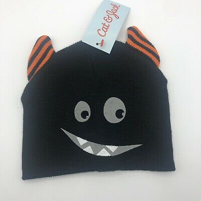 Black Cat Halloween themed Baby Hat with face and ears by Cat & Jack NEW NWT