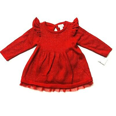 Cat /& Jack Baby Girls/' Ruffle Sleeve Sparkle Sweater Dress Red Holiday Christmas