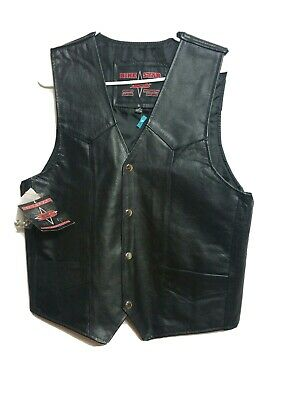Bike Sar MEN'S NEW SMALL Leather vest MOTORCYCLE Apparel  (#l8