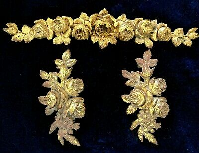 Large Antique French Gilded Brass/ Bronze Pediments Decors Mounts Rose Buds