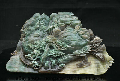 "5.6"" Natural Dushan Green jade carved scenery house tree boat people statue"