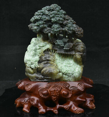 "12"" China Natural Dushan Green jade carved scenery hill tree house bridge statue"