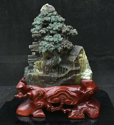 "14"" Chinese Natural Dushan Green jade carved scenery house tree boat statue"