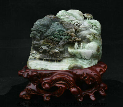 "11"" Natural Dushan jade carved scenery hill water tree house people statue"