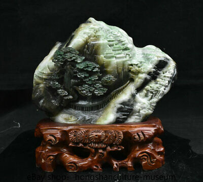 "10.4"" China Natural Dushan Green jade carved hill river tree house boat statue"