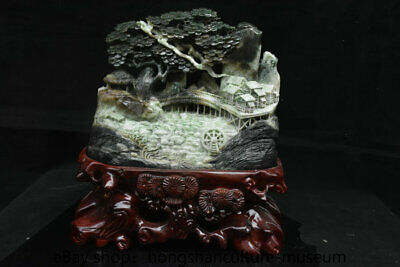 "13.6"" Natural Dushan jade carved scenery hill river house bridge tree statue"