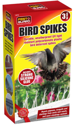 3m Plastic Bird Spikes Pigeon Control Repeller Deterrent Kit Pest Glue Tube