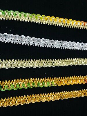 French Gold Triple Layer Sequin Glitter Trimming Border Lace Ethnic Gota X194