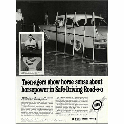 1960 Pure Oil: Teenagers Show Horse Sense About Horesepower Vintage Print Ad
