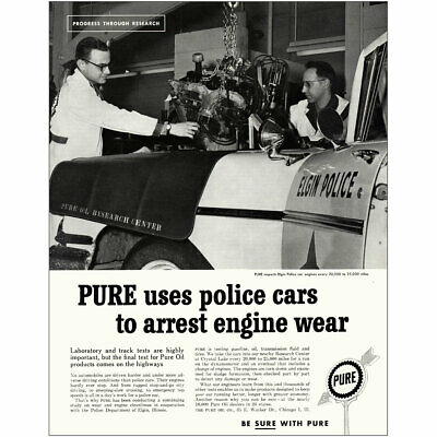 1960 Pure Oil: Elgin Illinois Police Cars Vintage Print Ad