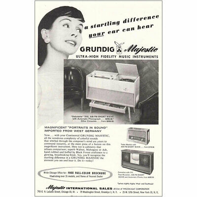 1959 Grundig Majestic Stereo Twin Sound Systems Vintage Print Ad