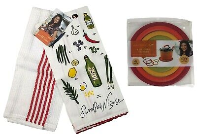 Rachael Ray Cucina Kitchen Towels 2 Pack Gold Brown All Cotton New