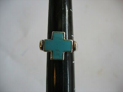 REAL STERLING SILVER Long Turquoise /& Pearl Reversible Design Band RING 7.1g