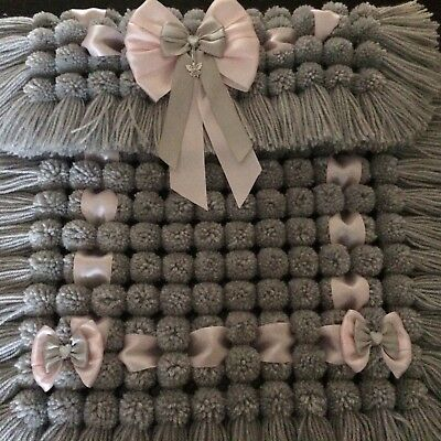 Pram Cover In Grey With Pink Ribbon Luxurious Thick Baby Pom Pom Blanket