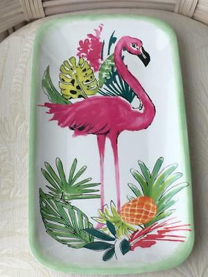 Long New Coastal Melamine Server Tray Happy Hour Beach Dogs with Cocktails 20in