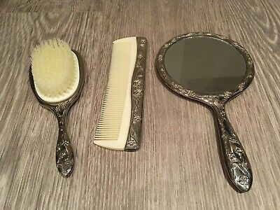 3 Piece Silver Dressing Table Set, Dressing Table Brush Comb Mirror Set