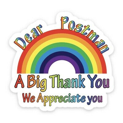 Rainbow Window Sticker Thank You NHS Wall STAY HOME front door key workers