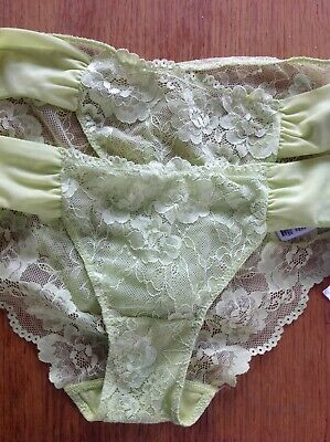 M/&S COLLECTION Cotton /& Lace /'Love/' Thong Size 10